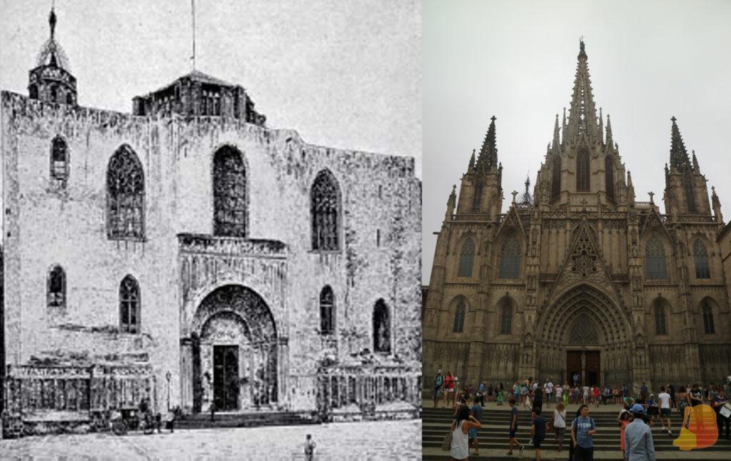 Montaje con una fotografía de la Catedral en 1880 y la catedral en la actualidad. La mayoría de la decoración que se ve es un añadido y no aparece en la primera fotografía