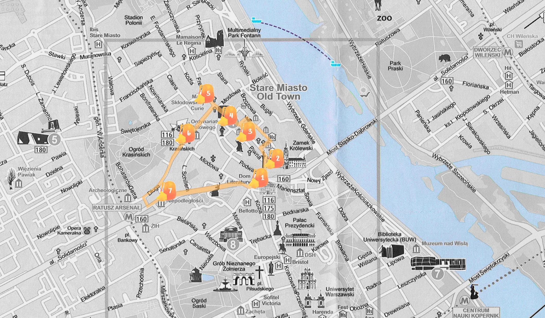 Mapa con la ruta que hicimos en nuestra primera ruta por Varsovia