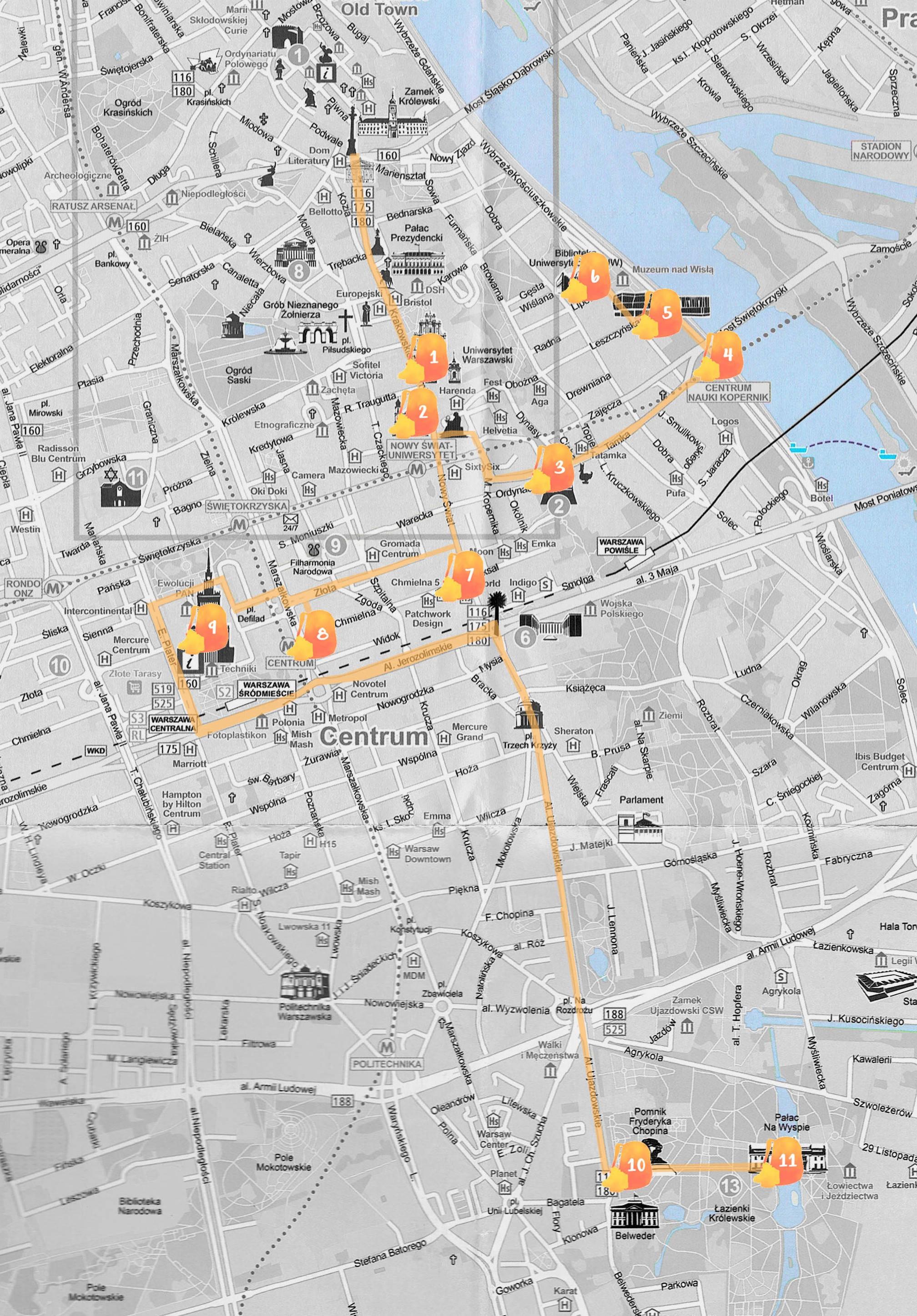 Mapa con la ruta que seguimos señalada