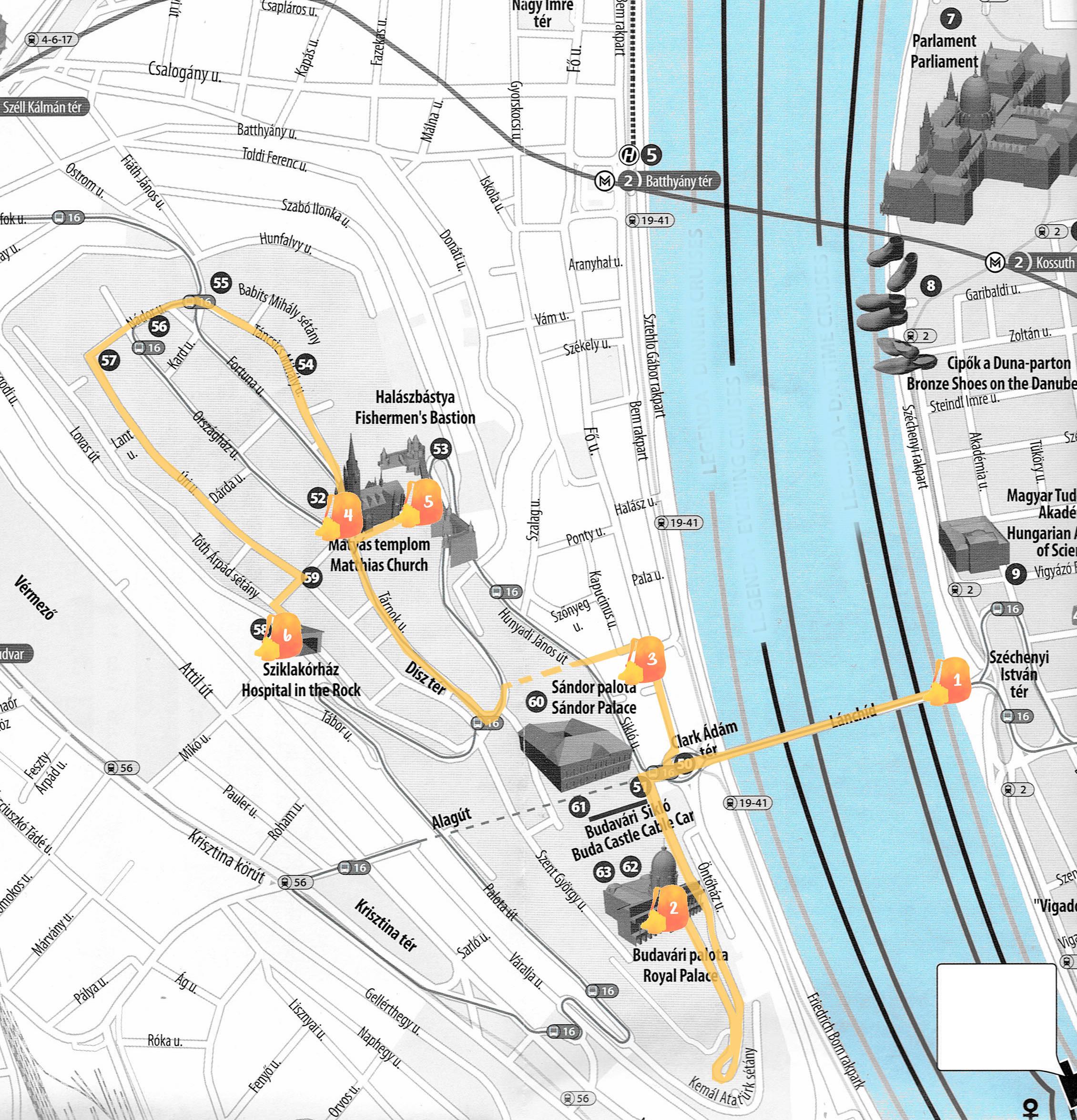 Mapa con la ruta que hicimos señalada