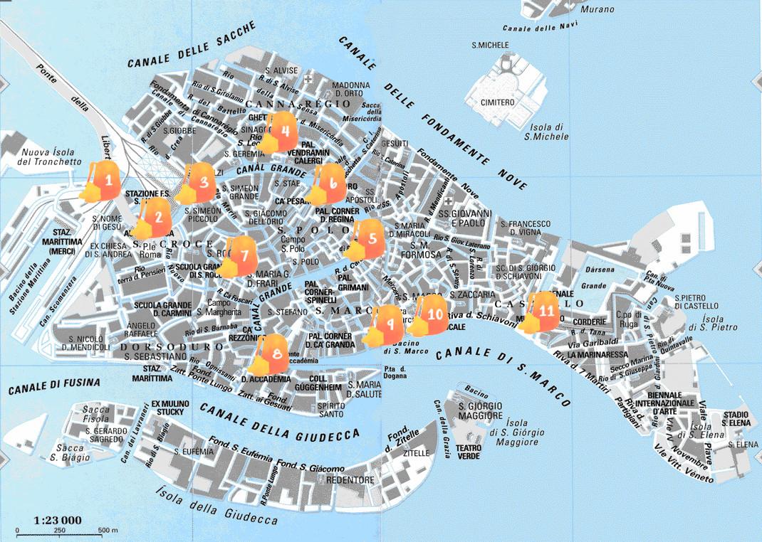 Mapa con los puntos del primer día señalados