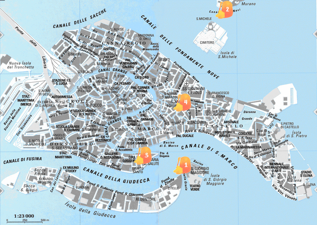 Mapa con los puntos del día 2 señalados
