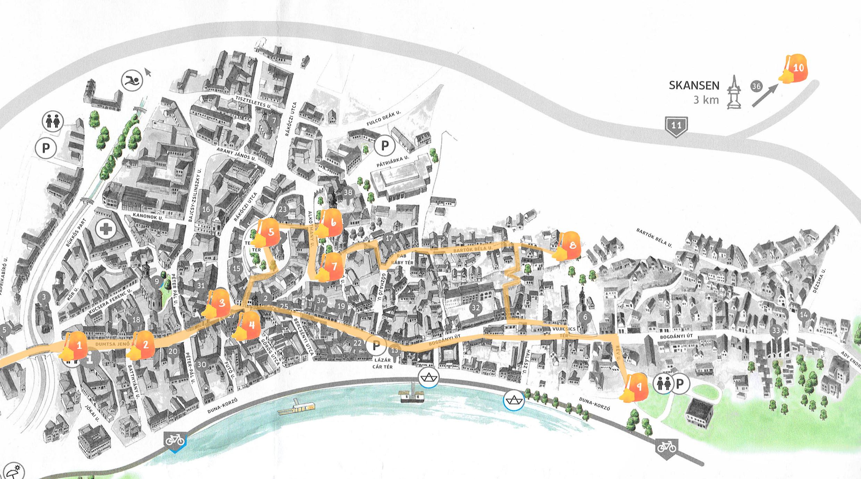 Mapa con nuestra ruta por Szentendre