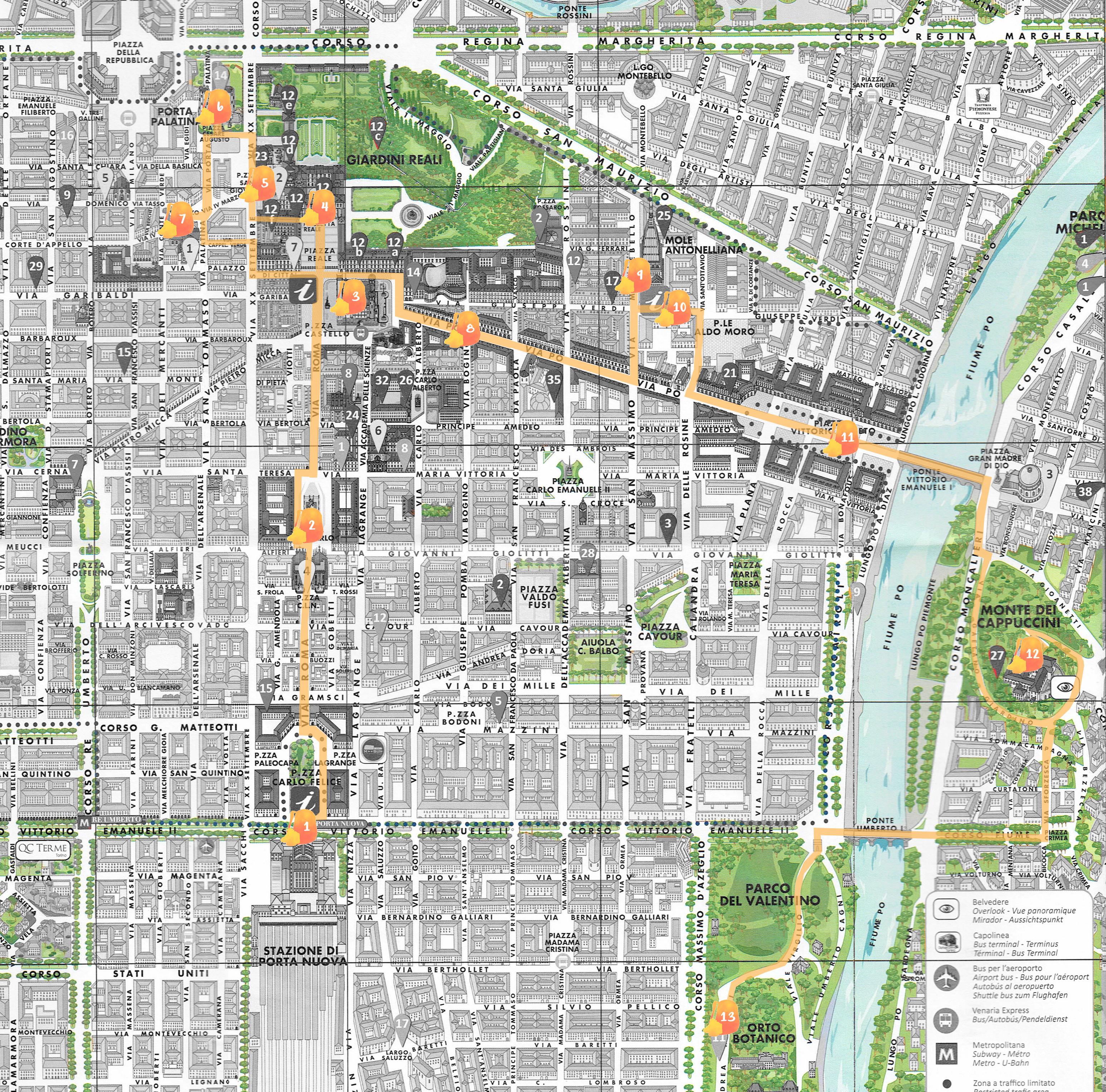Mapa con la ruta señalada