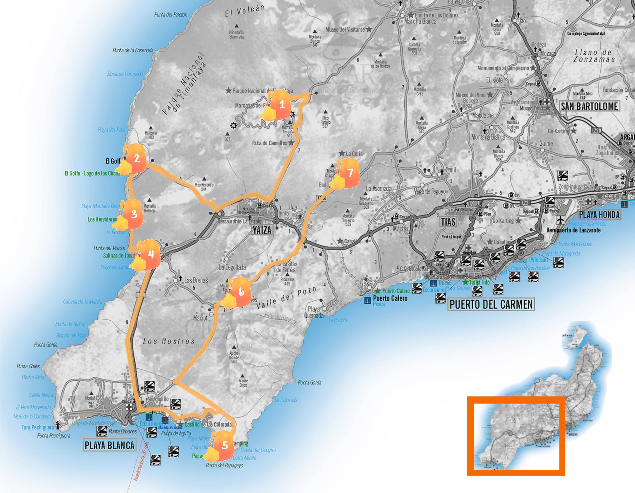 Mapa de Lanzarote con la ruta señalada
