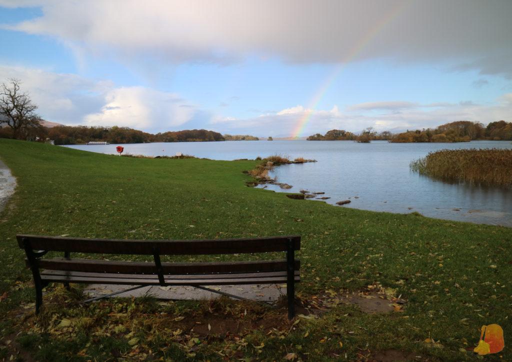 Un banco y de fondo el arco iris sobre un lago de Killarney