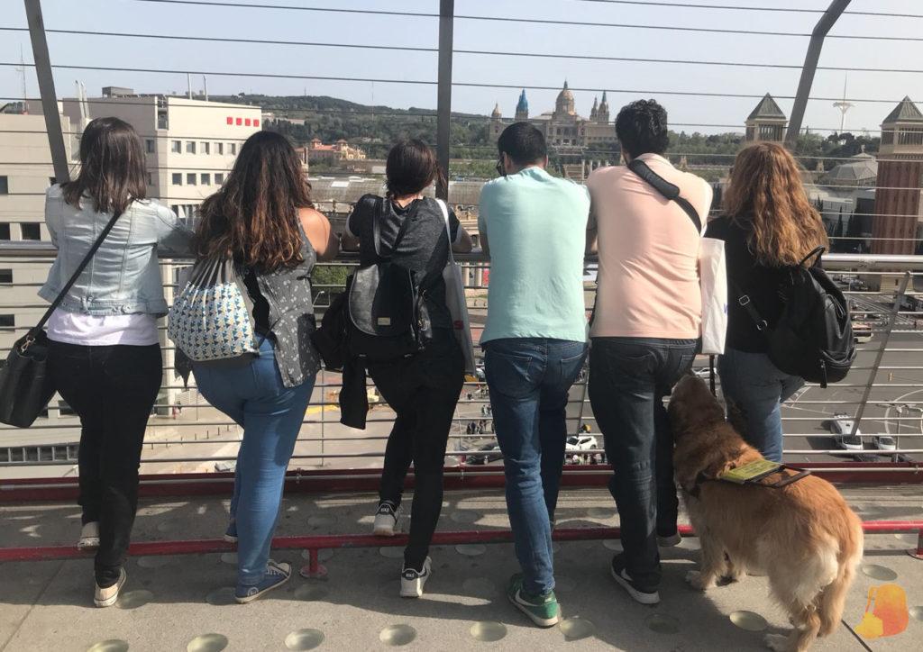 De espaldas y de izquierda a derecha: Daina, Miriam, Lena, Tomás, David, Grace (la perra guía de Laura) y Laura