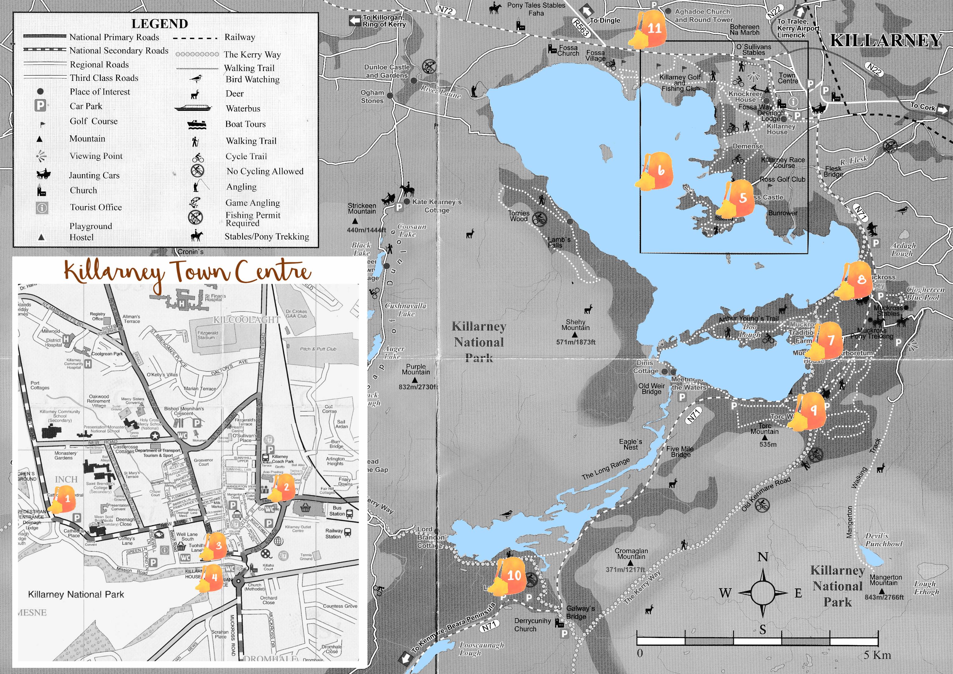 Mapa de Killarney con los puntos señalados