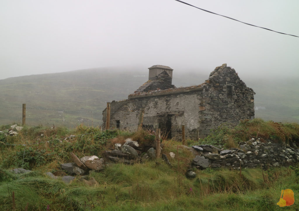 Ruinas de una casa en la isla de Valentia