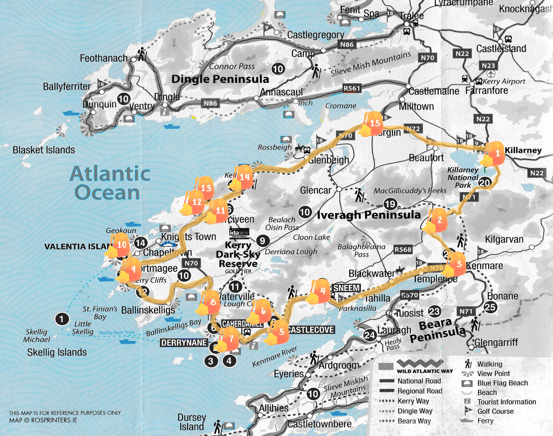 Mapa del Ring of Kerry