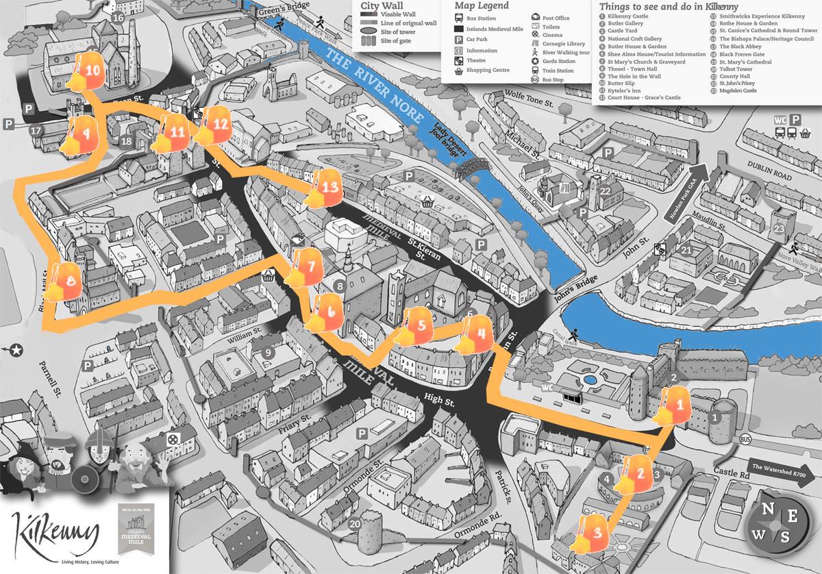 Mapa de Kilkenny con la ruta señalada