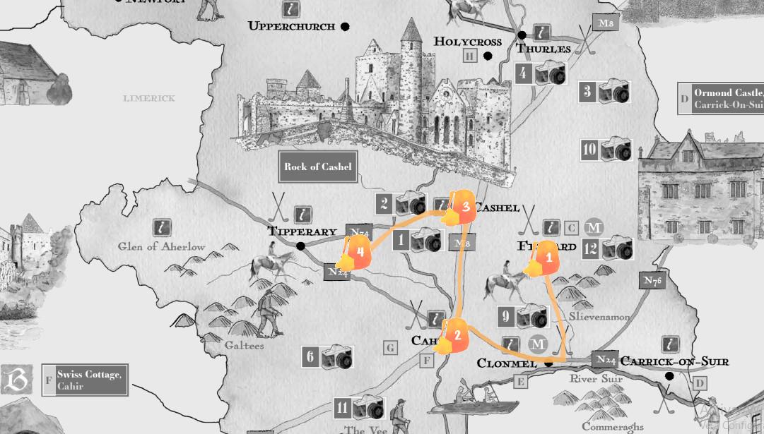 Mapa con la ruta de Tipperary señalada
