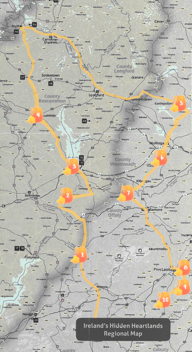 Mapa de Midlands con nuestra ruta señalada