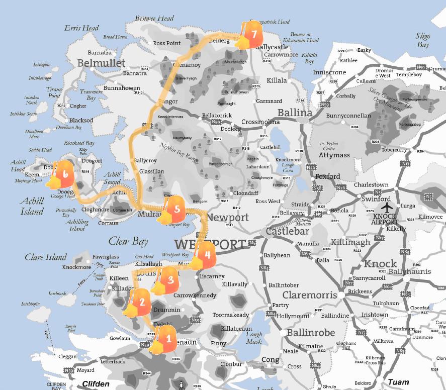MApa del condado de Mayo con la ruta señalada