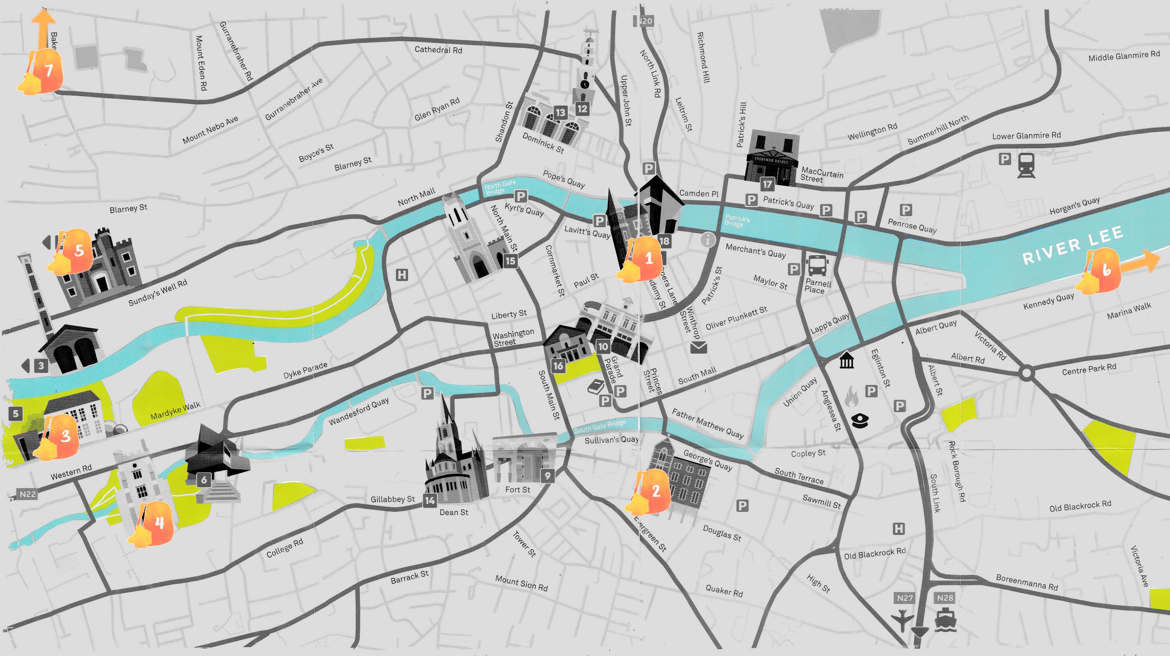 Mapa con los puntos señalados