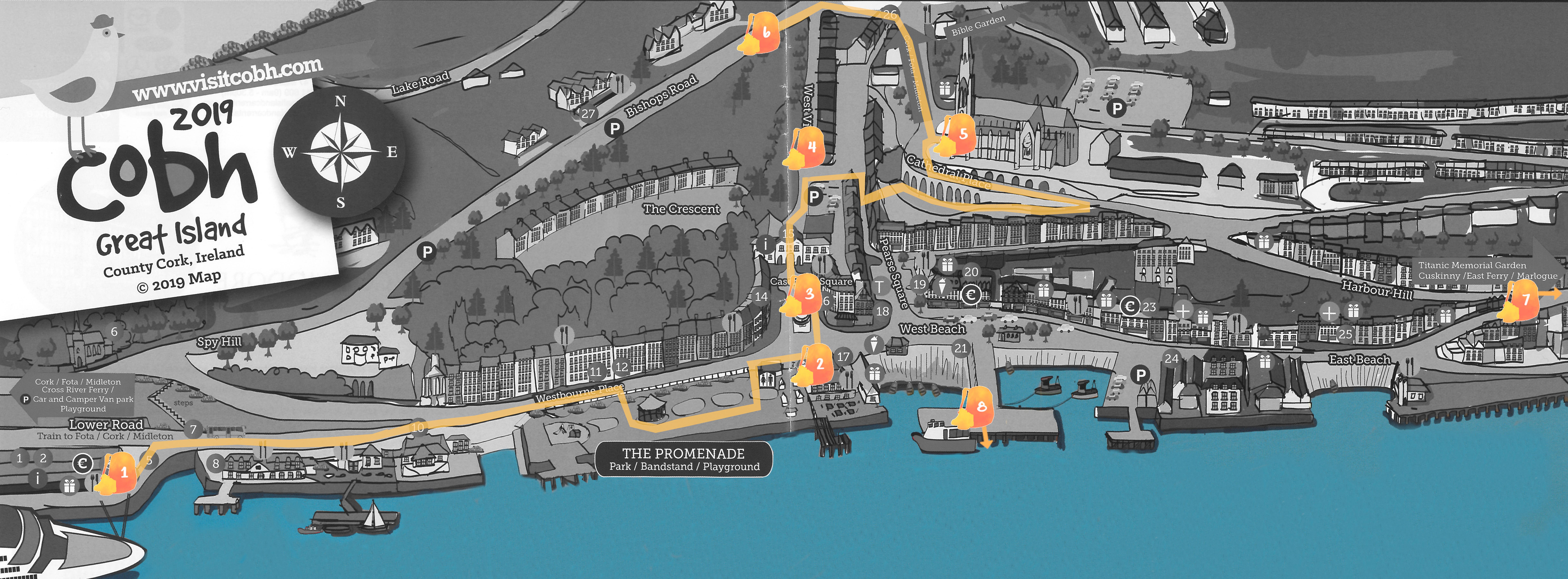 Mapa de Cobh con la ruta señalada