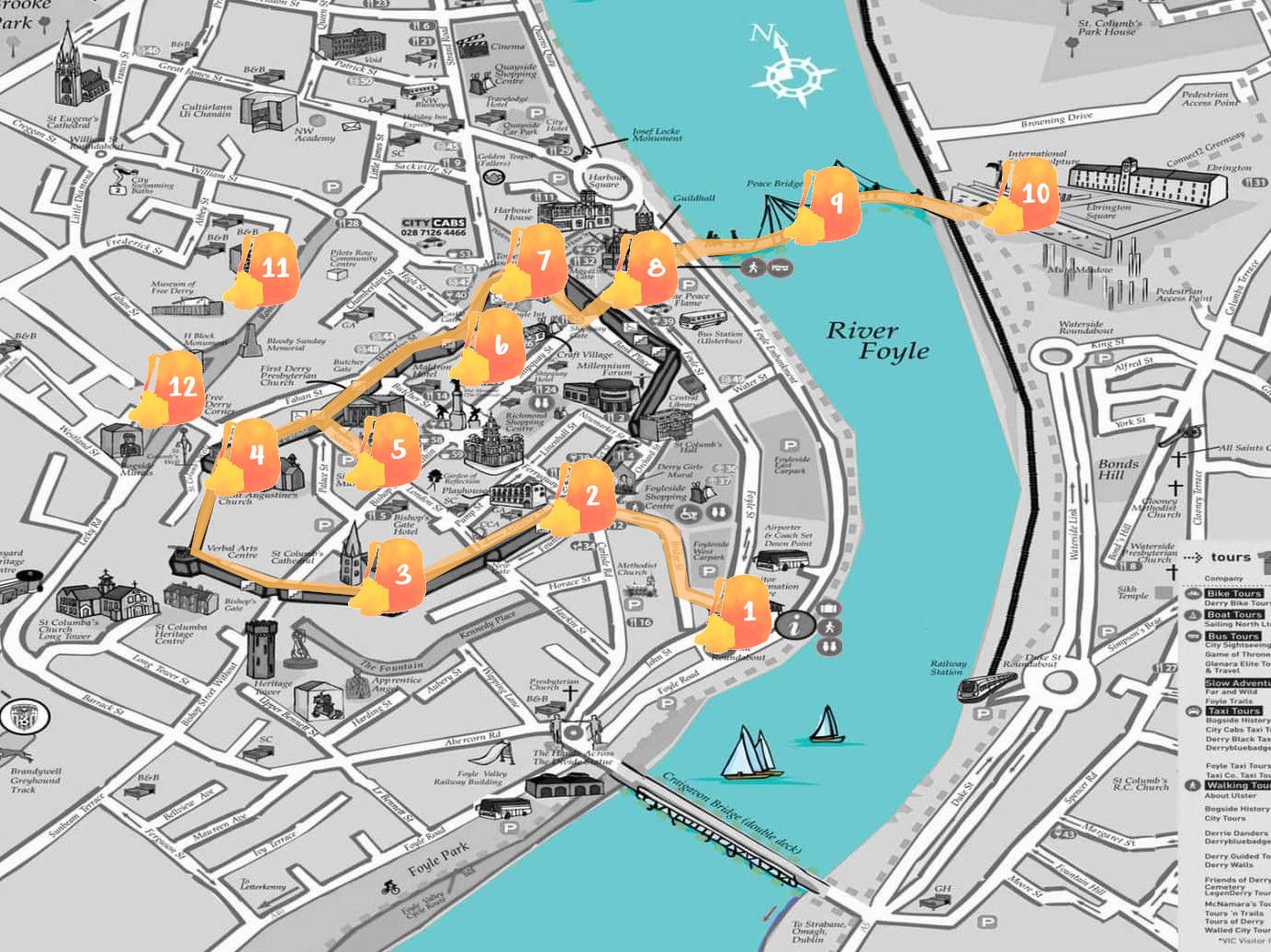 Mapa de Derry con nuestra ruta señalada